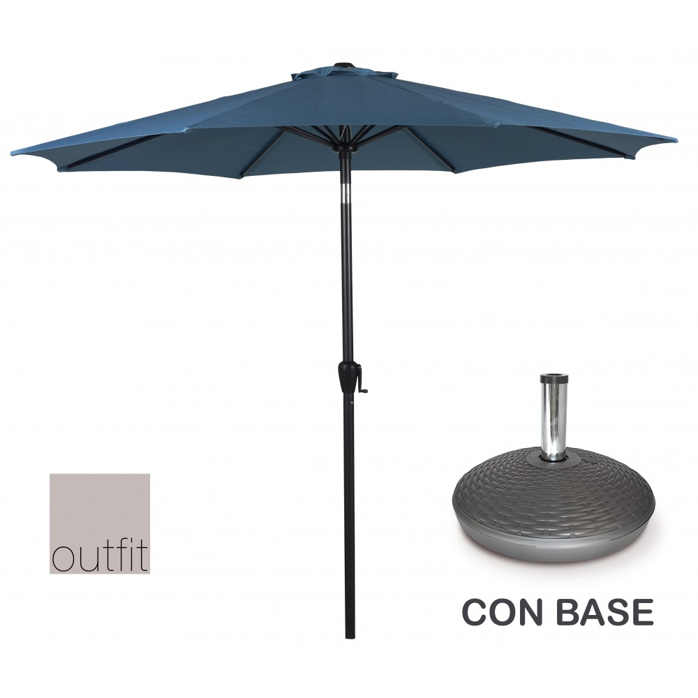 Ombrellone da Giardino Blu 3 Metri con Base Outfit 48934