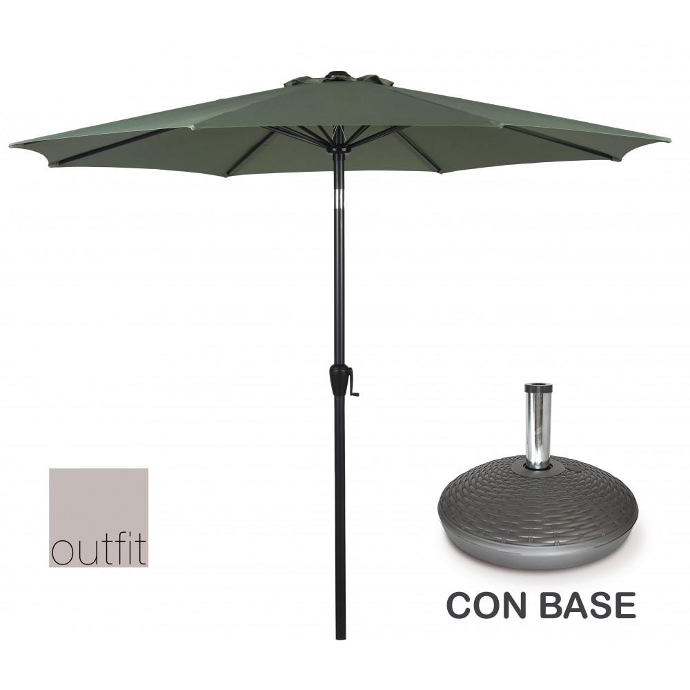 Ombrellone da Giardino Verde 3 Metri con Base Outfit 48935