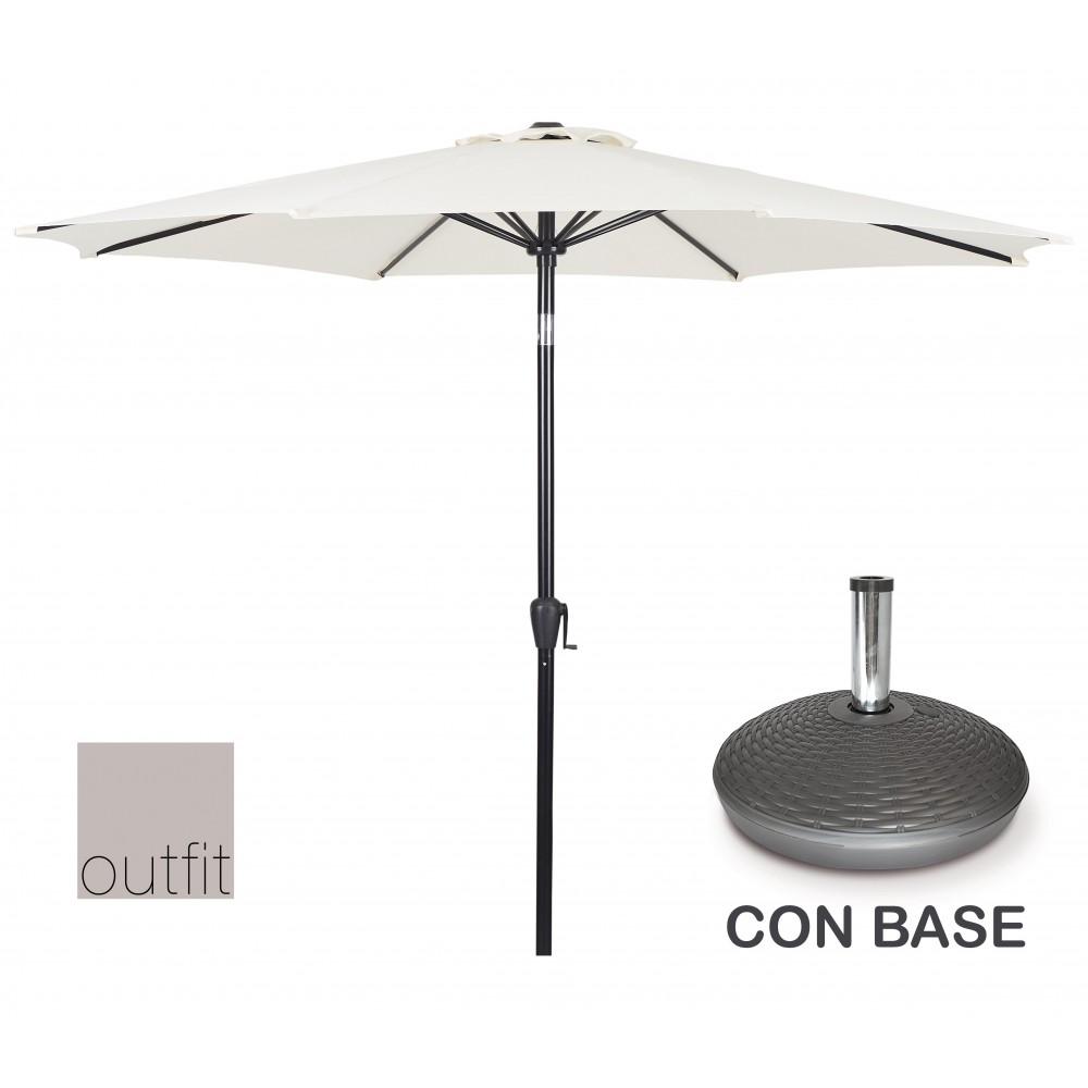 Ombrellone da Giardino Bianco 3 Metri con Base Outfit 624593