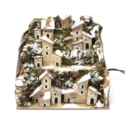 Paesaggio Innevato con Case e Luci cm. 20x14x18 per Presepe - 85061