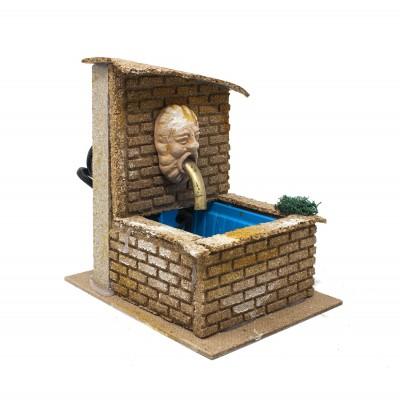 Fontana con Maschera in Terracotta per Presepe con Motorino