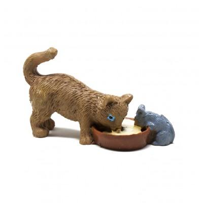 Gatto con Topo H 2 cm in Resina Animali per Presepe