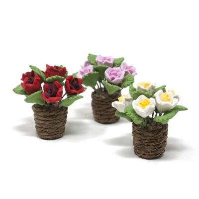 Vaso con Fiori Set da 3 Pezzi Miniatura per Presepe
