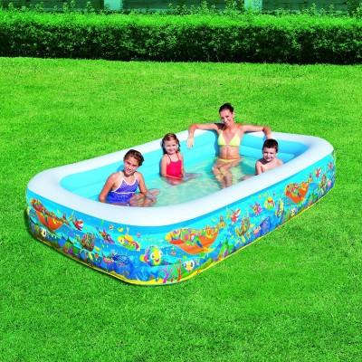 Piscina gonfiabile family con pesci 305 x 183 cm bestaway for Pesci finti per piscina