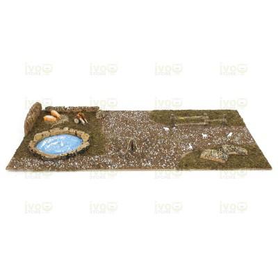 Base in Legno per Presepe da Decorare con Laghetto e Animali 76 x 40 x 6 cm