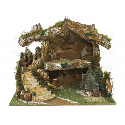 Grotta Capanna per Presepe con Pinetti e Lampada Fuoco 1315