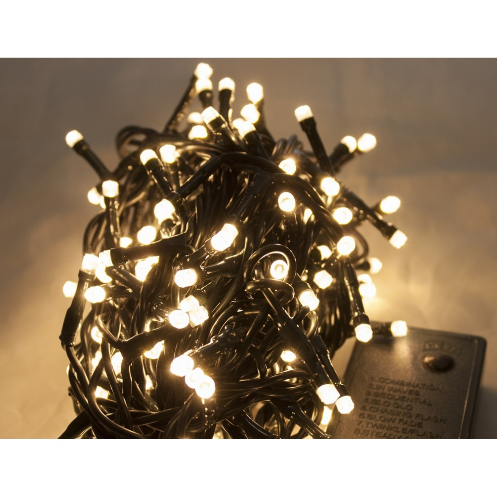 Catena Luminosa Per Esterno Con Giochi Di Luce 180 Led Bianco Caldo