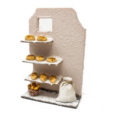 Parete decorativa in miniatura con pagnotte di pane