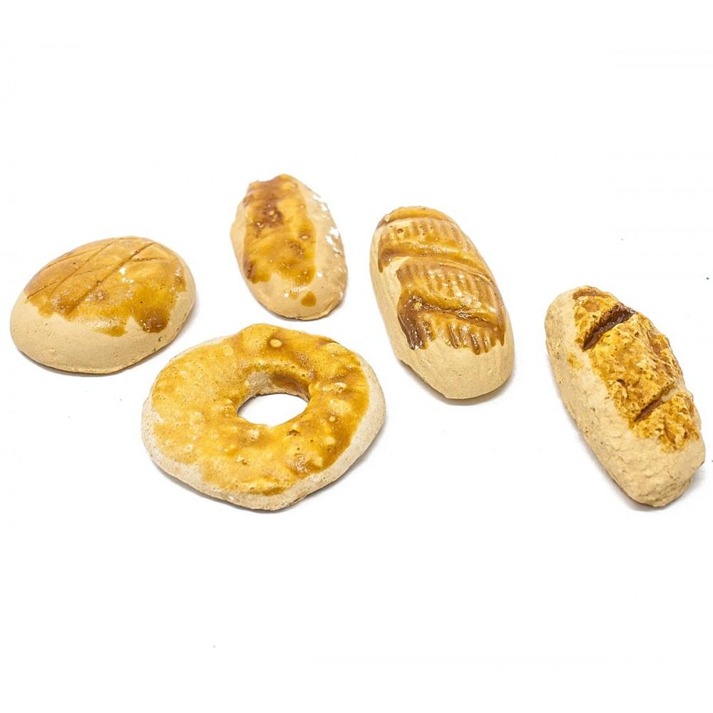 Miniatura di 5 forme diverse di pane per presepe