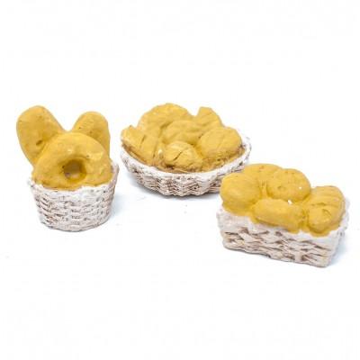 Miniature di 3 ceste di pane per presepe