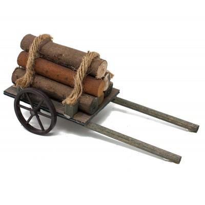 Miniatura di un carretto con legna e corda