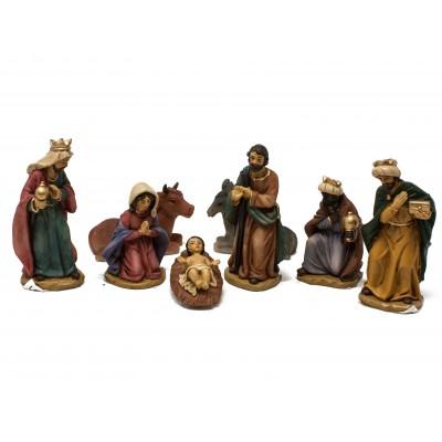 Set 8 pezzi di Natività in resina per presepe da 9 cm