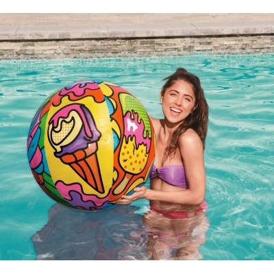 Palla da spiaggia o piscina con grafica pop art, grande 91 cm