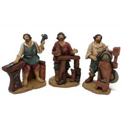 Set da 6 pastori mestieri in resina 9 cm