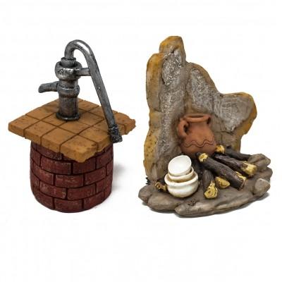 Set da 2 oggetti in resina fuoco e pozzo