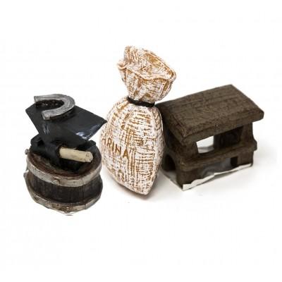 set 3 soggetti in miniatura farina, tavolo e incudine