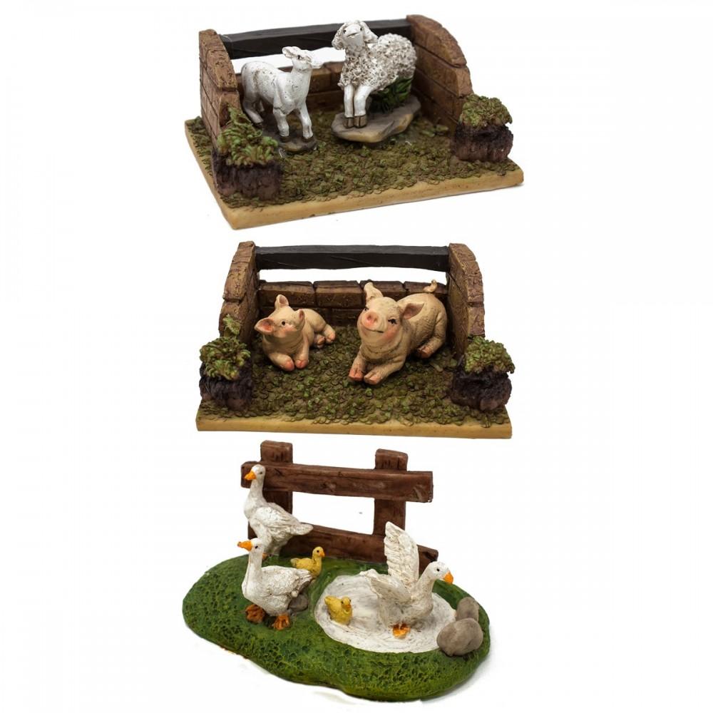 Set 3 diverse scene con animali per presepe