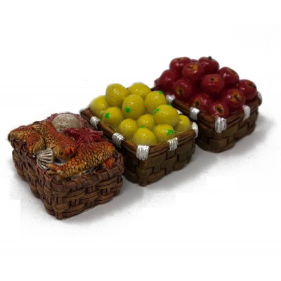 Ceste con frutta e pesce miniature presepe