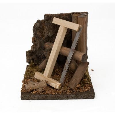 Miniatura di scena per presepe con sega e legna