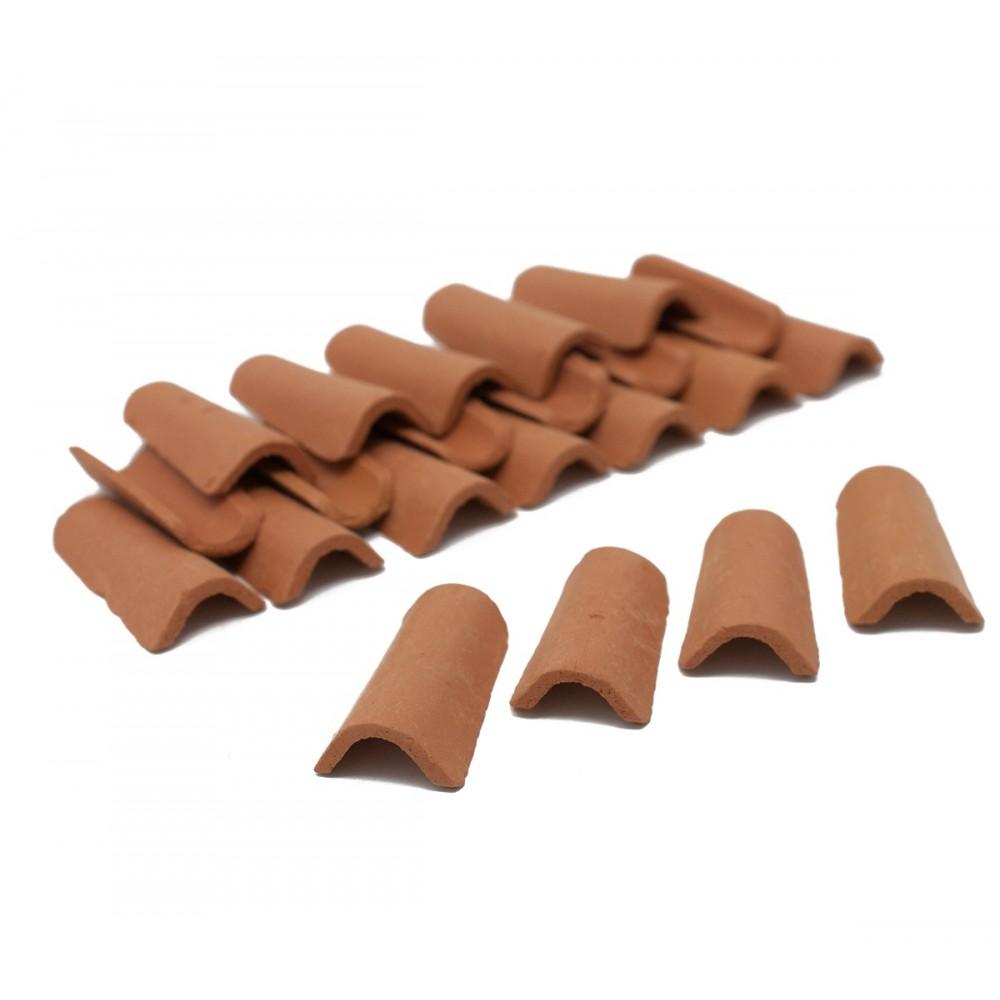 Tegole in terracotta per presepe 3 cm coppi 36 pz - IVOSTORE