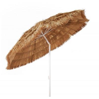 Ombrellone tropicale effetto paglia in rafia con stecche paragon