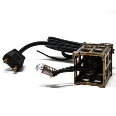 Lampione in metallo con lampada miniatura presepe