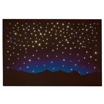 Cielo Stellato con Montagne Luminoso Pannello 60 x 40 cm con Fibra Ottica LED - 10758