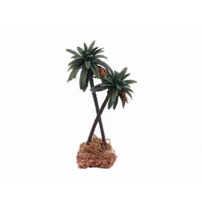 Palma Doppia con Base in Sughero H 22 cm