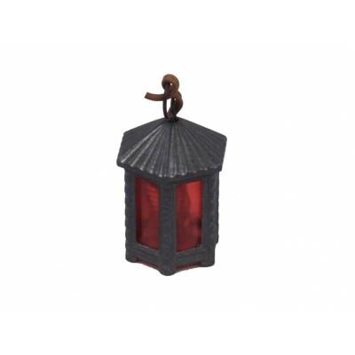 Lanterna Esagonale in Metallo H 3,5 cm con Luce Rossa 3,5 V - A46TR