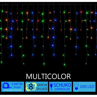 Tenda LED Luminaria Natalizia Multicolor 4 metri