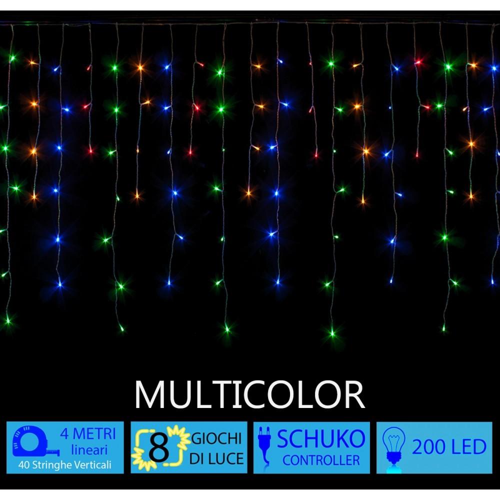 Tenda LED Luminaria Natalizia Multicolor 4 metri