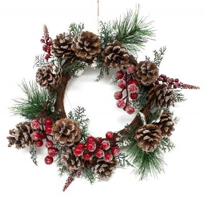 addobbo natalizio per la porta con pigne