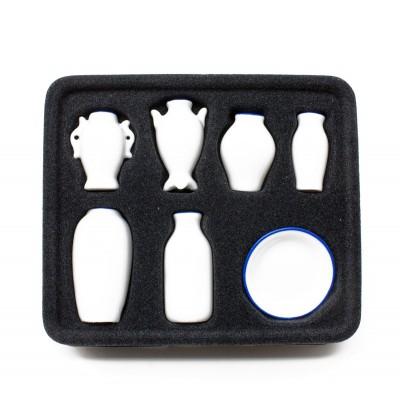 Vasi in Porcellana Set 7 P.z. Miniature per Presepe